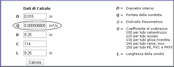 Calcolo portata velocit potenza dell 39 acqua in un tubo - Calcolo portata da pressione e diametro ...