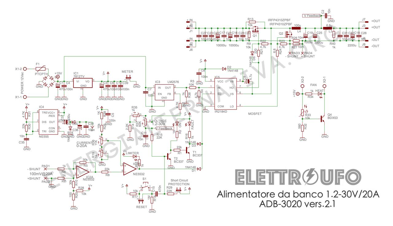 Schema Elettrico Alimentatore Pc Atx : Alimentatore v a schema elettrico