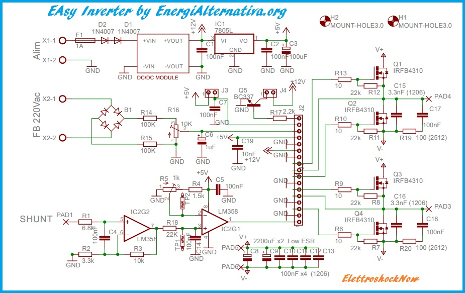 Schema Elettrico Per Invertitore : Easy sine inverter by energialternativa